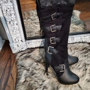 Black knee high boots with buckles